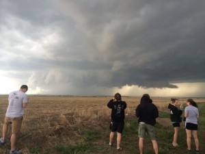 Supercell spinning as students look.