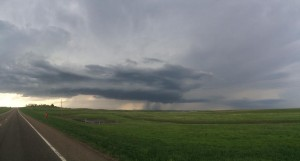 Severe thunderstorm located outside of Bowman, North Dakota.