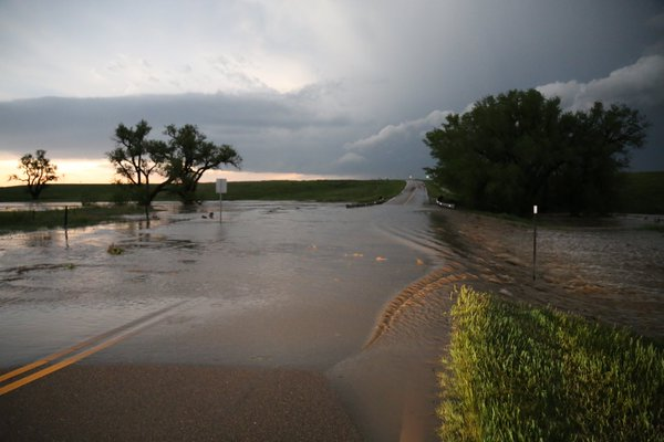 Figure 5: Flooding on KS-25 just south of the Logan County line (Photo credit: Grady Dixon)