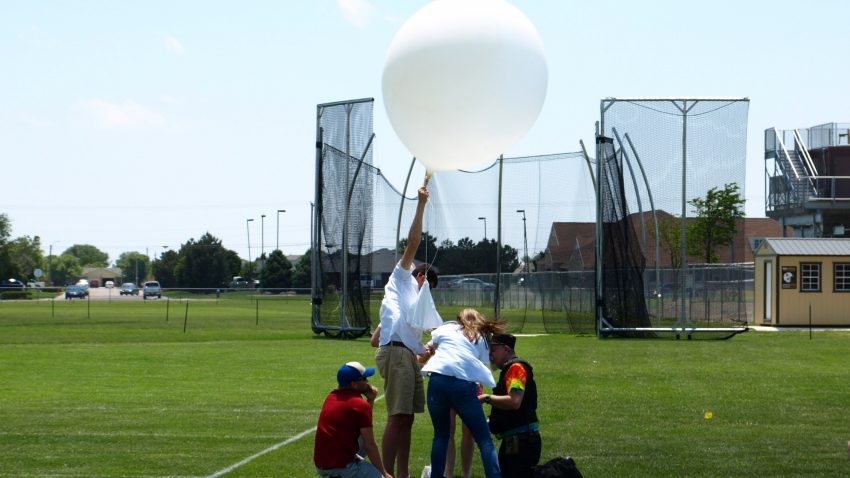Figure 1: Dr. Victor Gensini of the College of DuPage launches a radiosonde from Garden City, KS