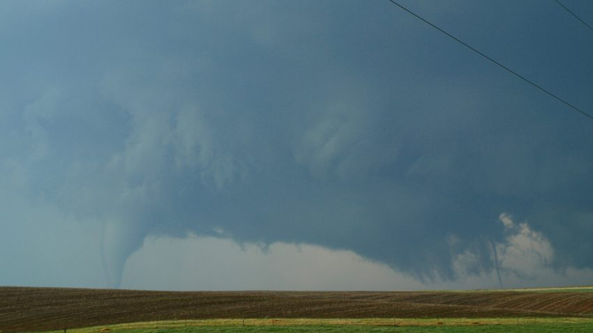 Figure 4: The supercell undergoes vortex cycling southwest of Dodge City. Two tornadoes are visible at once