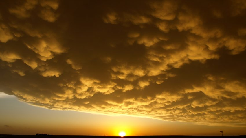 Figure 6: Mammatus clouds form in the wake of the violent supercell