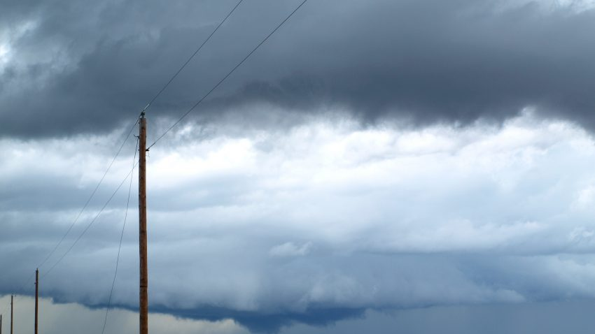 Figure 4: The second cell to our west drops a rotating wall cloud