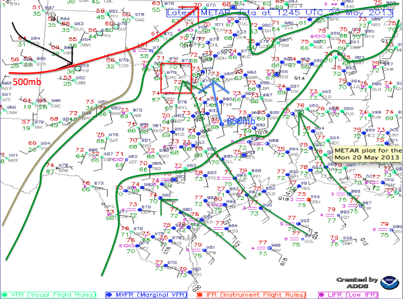 Surface analysis for 1245Z on May 20, 2013.