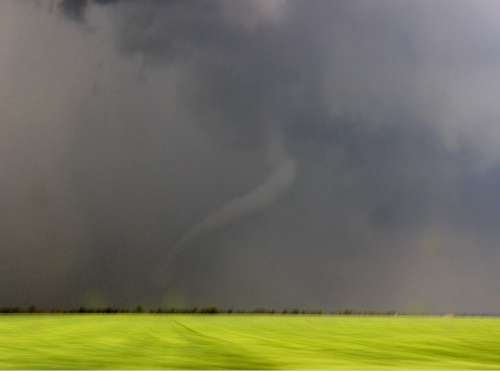 The brief tornado our group spotted just north of Conway Springs, KS at around 3:20 pm. Photo by Andrew Schuler.