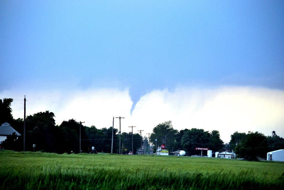 Funnel cloud which was a confirmed tornado (via other spotters) just to the west of Bennington, KS. Photo by Ilea Schneider.