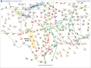 Surface analysis showing observations valid at 1200 Z and upper-air diagnostics valid for 0000 Z today.