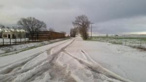 Hail along a roadway in CO