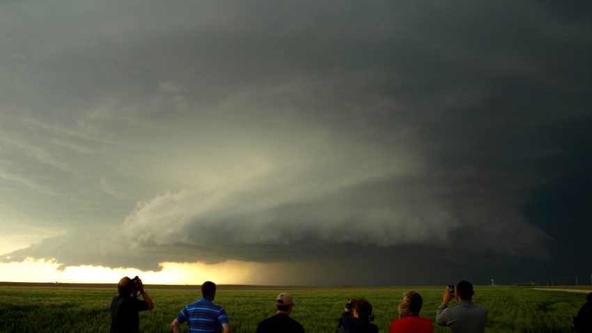 Figure 4: WKU students, along with Dr. Josh Durkee, document the Leoti, KS supercell