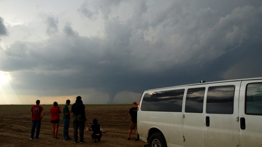 Figure 3: WKU students watch as the Minneola tornado intensifies