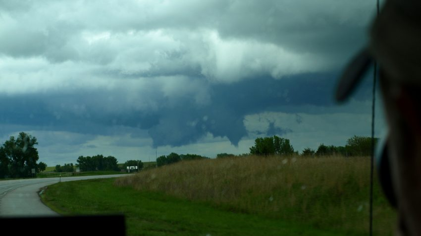 Figure 2: A rotating wall cloud forms under the Belleville cell.
